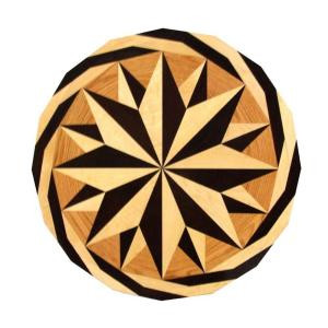 PID Floors Round Medallion Unfinished Decorative Wood Floor Inlay MC001 - 5 in. x 3 in. Take Home Sample-MC001S 203825031