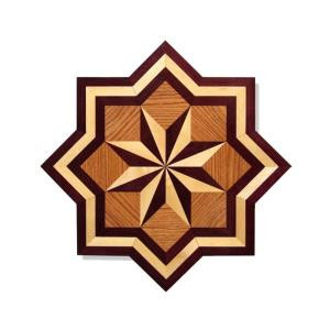 PID Floors Star Medallion Unfinished Decorative Wood Floor Inlay MS001 - 5 in. x 3 in. Take Home Sample-MS001S 203825030